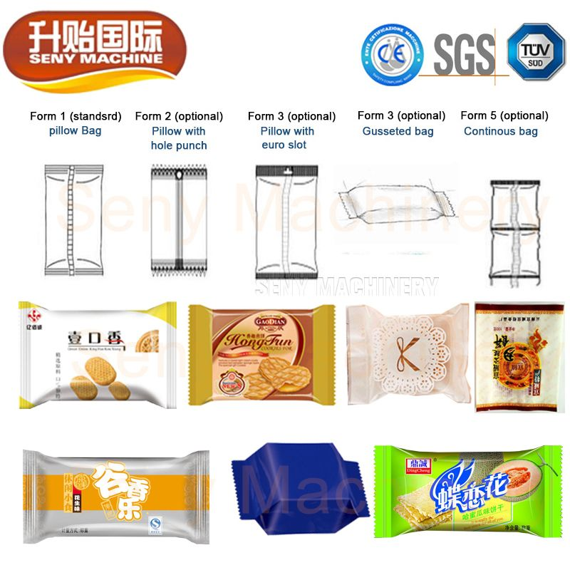 SY-306 Automatic Bread Cake Bag Flow Candy Pillow Packing Machine